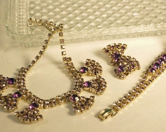 Hollywood Glamour  Vintage  Rhinestone Parure Jewelry Set