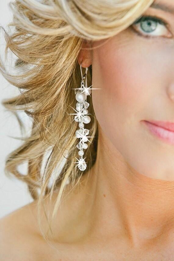 Swarovski Bridal Earrings, Pearl Bridal Earrings, Crystal Wedding Jewelry for the Bride
