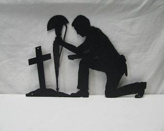 Soldier Praying Silhouette Rustic Metal Wall Yard Art