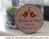 50 Custom Save the date/Wedding Favor Wood Magnets birds love-love is sweet