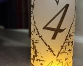 Monogram wood birch Luminary Centerpiece - 8.5 inch - great for table Number Wedding Reception-15 pkg