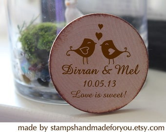 50 Custom Save the date/Wedding Favor Wood Magnets birds love-love is sweet