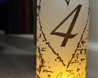 Monogram wood birch Luminary Centerpiece - 8.5 inch - great for table Number Wedding Reception-15 pkg