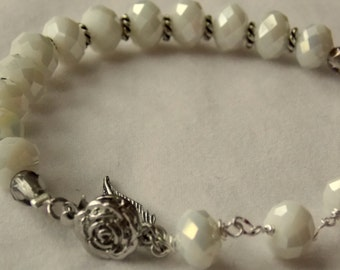 White Crystal and Chain Bracelet with sterling feather charm