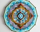 Yarn mandala, Finding Love, an 18 inch, 12-sided, Ojo de Dios, by custom order