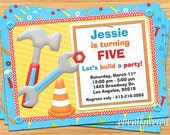 Tools Construction Birthday Party Invitation - Digital - Printable