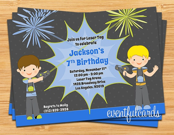 Laser Tag Birthday Party Invitation Printable by EventfulCards – Laser Tag Party Invitations
