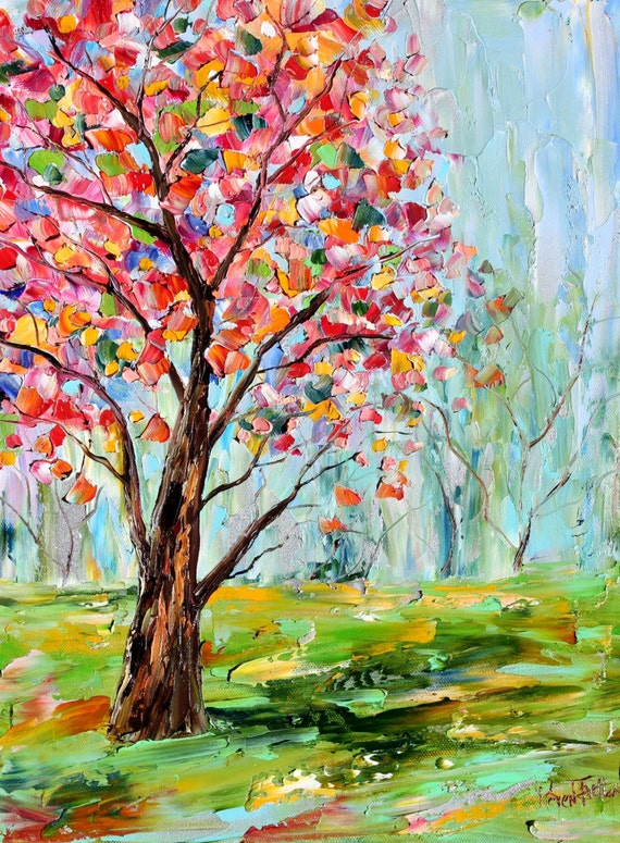 original oil painting spring tree cherry blossoms on canvas by