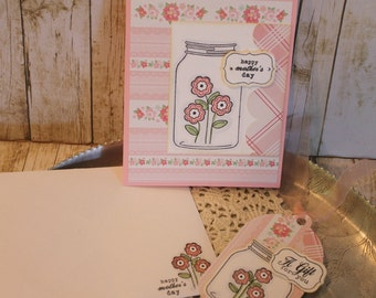 Mothers Day Card and Tag Set Handmade Gift Set