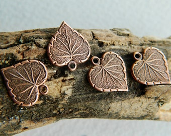 Small Brass Heart Leaf Charms  Antique Copper Plated Brass USA Made 10x13mm (10pcs) NEW
