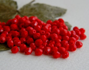 Faceted Round Beads, Czech Glass Fire Polished Beads, 4mm,  Opaque Red (100pcs) NEW
