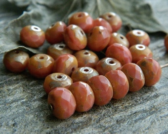 Picasso Czech Glass Beads Fire Polished Faceted Rondelles Spacers 6X9mm Light Coral Carrot Pink & Metallic Picasso (20pcs) NEW