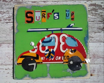 Surf's up Lime Green Red VW BUG Car Surfboard Surfer Beach Nursery Boy Word Block Sign Custom Funky States License Plate Art Recycled