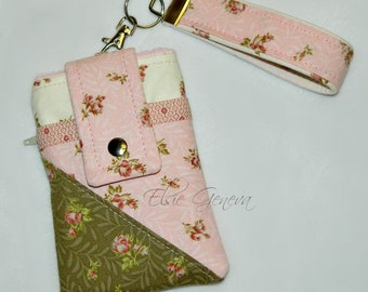 Vintage Brown  Pink & Cream Roses Phone Case with Wristlet Back Zipper Pocket iPhone 4 5 6 Plus Note