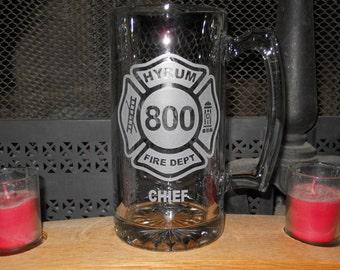 Firefighter Stein Custom Sandblasted Etched Fireman Beer Mug Stein