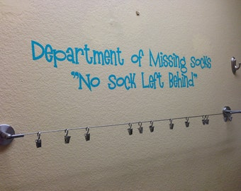 Department of missing socks No sock left behind vinyl wall decal 23 x 4.5