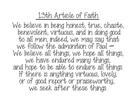 Geeky image throughout 13th article of faith printable