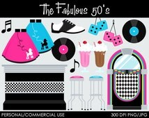 The Fabulous 50's Clipart - Digital Clip Art Graphics for Personal or Commercial Use