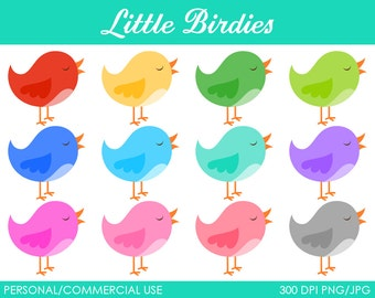 Little Birdies Clipart - Digital Clip Art Graphics for Personal or Commercial Use