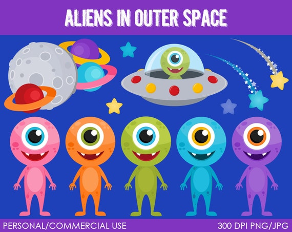 Aliens In Outer Space Clipart Digital Clip Art By
