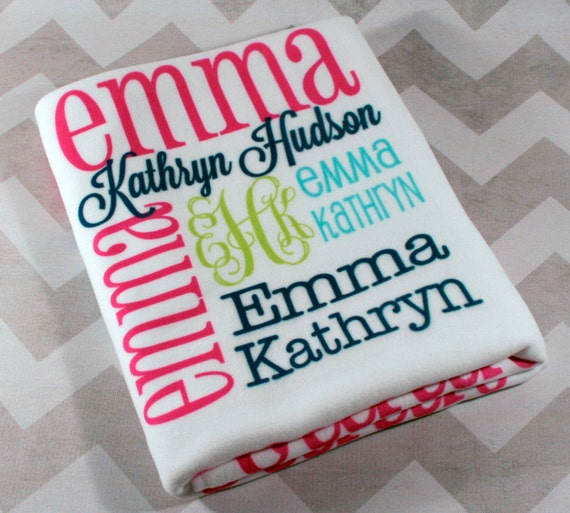 Baby Gift Monogram : Personalized baby blanket monogrammed by