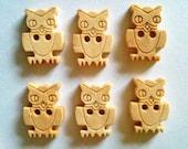 30 pcs  Wood owl bird inca Buttons size 14 x 18 mm