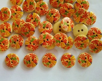 30 pcs Cute flower printed round wood button 2 hole size 15mm