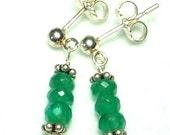 Delicate Faceted Genuine Emerald Earrings in Sterling