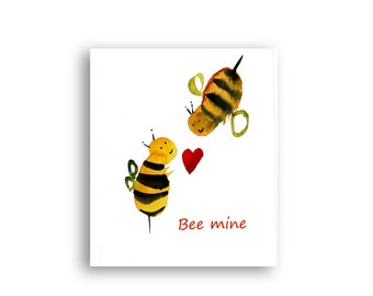 Valentines card -Bee Mine- Zen Art Cards, love, wedding, engagements - Free shipping