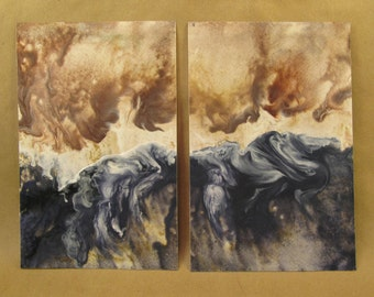 Abstract set of two encaustic paintings