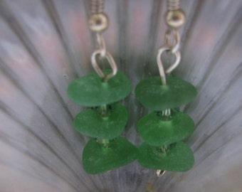 Dangle Seaglass Earrings Jewelry, GREEN Sea Glass, Beach Glass Dangle Earrings, Sea Glass Jewelry