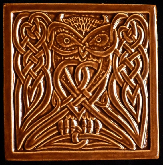 Handmade relief carved ceramic celtic owl art tile
