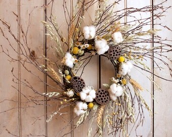 Cotton and Craspedia Wreath - Spring Wreath - Cotton Bolls - Wedding Decor