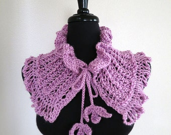 FREE US SHIPPING - Charming Lavender Light Purple Violet Color Knitted Lacy Fairy Collar Necklet Cowl Capelet with Crochet Leaf Ties