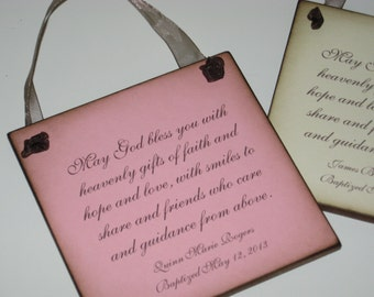 Personalized Baptism Christening Gift for Baby Girl- 6x6 - Wall Hanging with Christian Quote