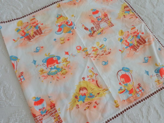 Cute vintage childrens nursery fabric runner by for Retro nursery fabric