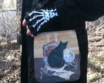 Black Cat Small Shoulder Bag With Changeable Hand Pressed Flap