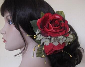 Red roses hair flower  Cluster clip -Weddings- Flamenco-