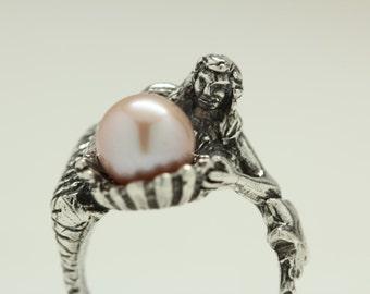 Pink Pearl Mermaid Ring
