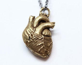 Bronze Anatomical Heart Necklace  bronze-plated, antique finish  Made in NYC