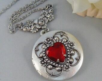 My Valentine,Locket,Silver Locket,Flower,Red,Ruby,Garnet,Antique Locket,Floral,Jewelry. Handmade jewelry by valleygirldesigns.