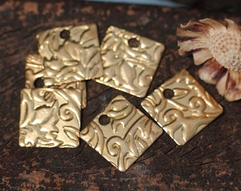 Bronze 26g 12mm Blanks Square Lotus Flowers Texture Cutout for Stamping Texturing Blank - 8 pieces