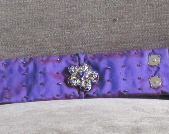 Handmade Purple Silk Hand Beaded Silk Cuff with Rhinestone and Enamel Embellishment