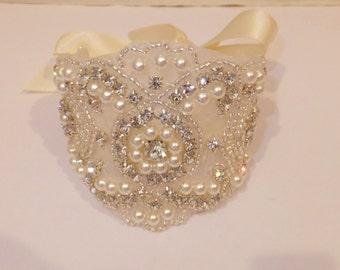 Pearl Rhinestone Bridal Bracelet, Rhinestone Pearl Bracelet, BRITTANY, Rhinestone Bracelet