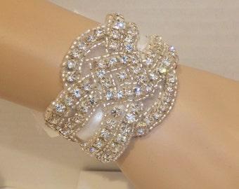 Wedding Bracelet- ALLISON, Rhinestone Bracelet, Crystal Bracelet, Bridal Bracelet, Cuff Bracelet
