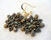 Silver Grey Jade Olive Picasso Bead Earrings - Rustic Snowflake