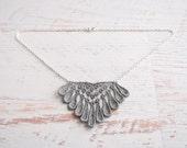 Lace Necklace - Emele - Silver Lace Bridesmaid Necklace - Geometric Diamond Metallic Gray Lace Jewelry