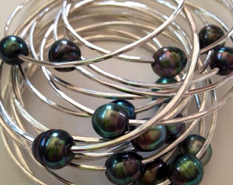 Sterling Silver Tahitian Pearl Bangle Custom, Make Your Own Thick 12 or 14 Gauge