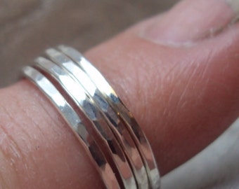 5 rings total , 16g stacking, ARGENTIUm sterling silver, 14kt GOLD Fill mix,