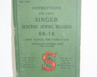 Singer 66-16 Sewing Machine Instruction Manual